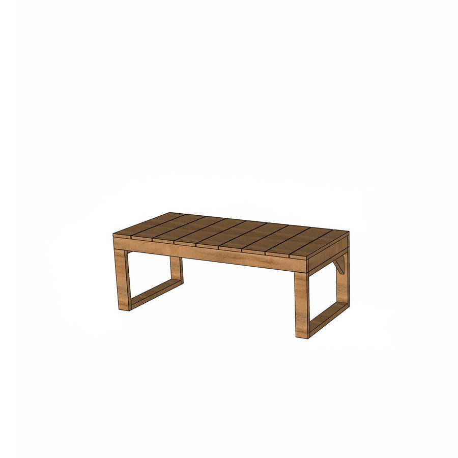 Castle and Cubby Raw Hardwood Timber Bench