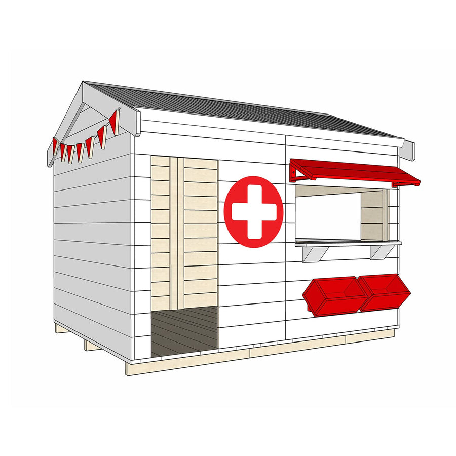 Castle and Cubby Painted Pine Timber Hospital Themed Cubby House Commercial Education