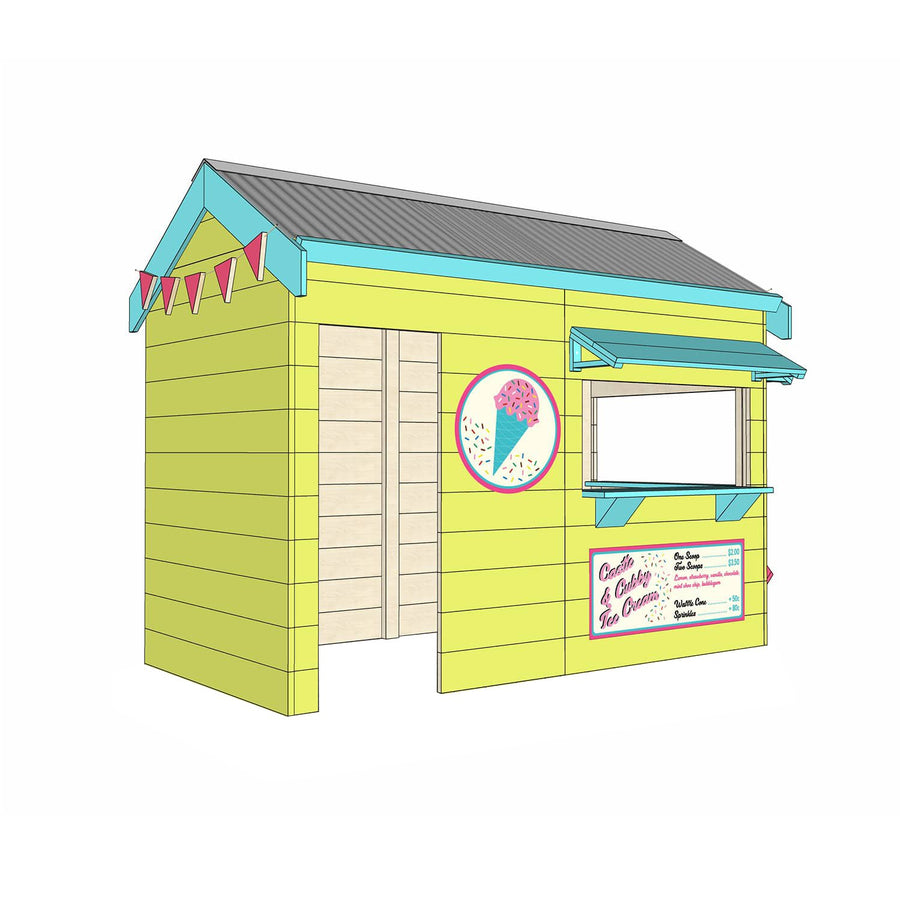 Castle and Cubby Painted Pine Timber Ice Cream Shop Themed Cubby House Commercial Education