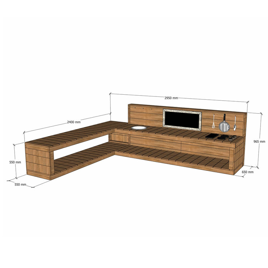 Castle and Cubby Hardwood Timber L Shaped Mud Kitchen with Stovetop and Sink