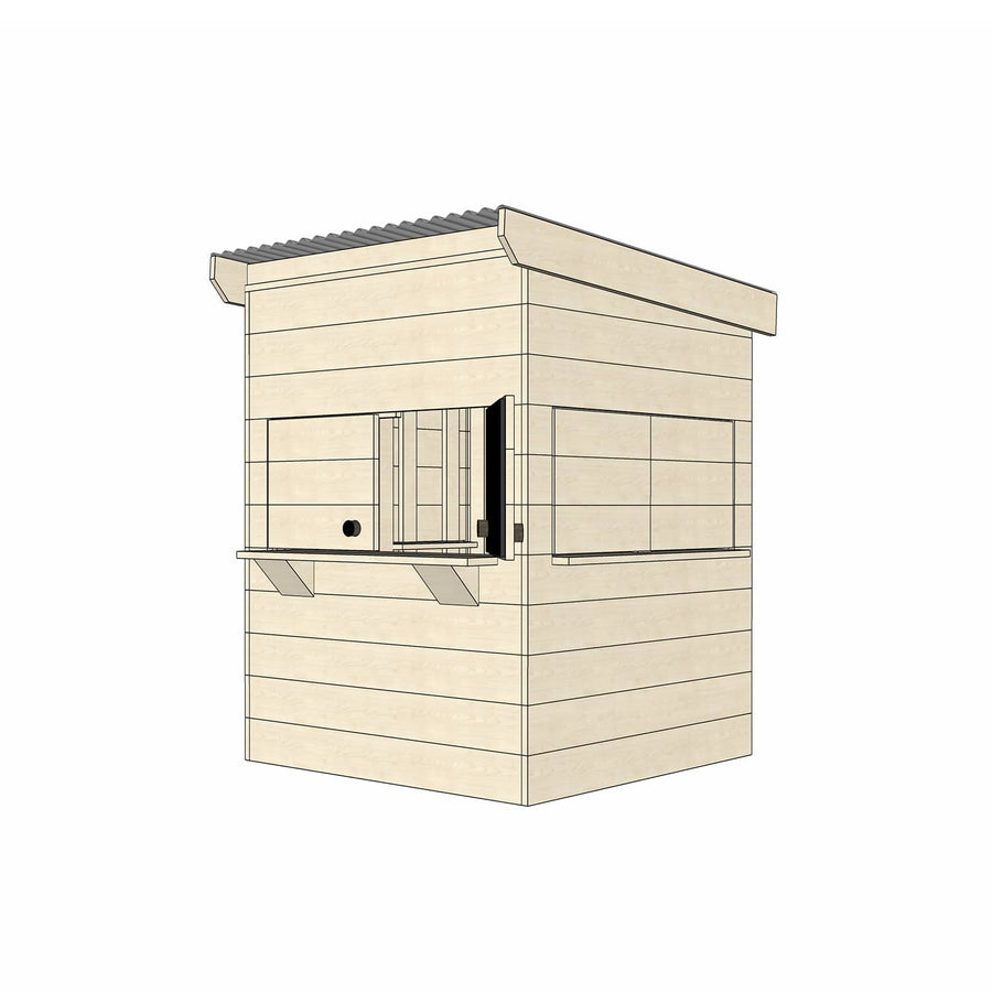 Castle Cubby Raw Timber Flat Roof Cubby House