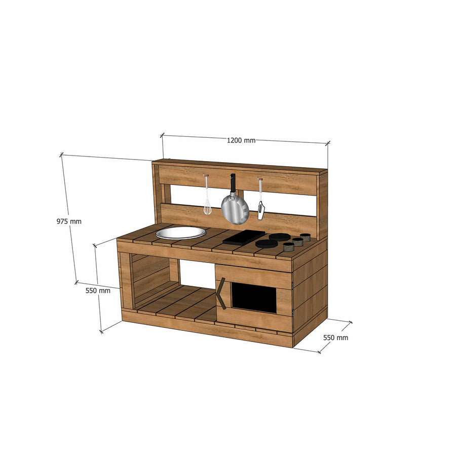 Castle and Cubby Hardwood Timber Mud Kitchen with Stovetop Sink Oven