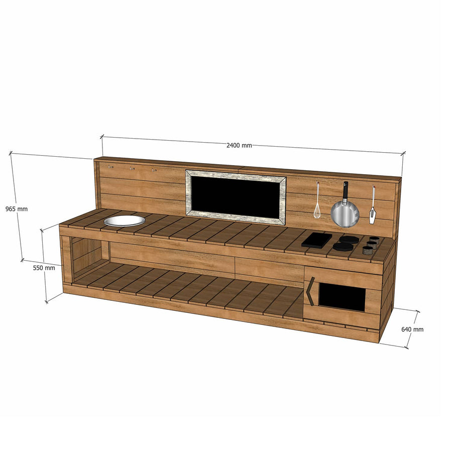 Castle Cubby Mud Kitchen Oven Stovetop Sink Hardwood Outdoor