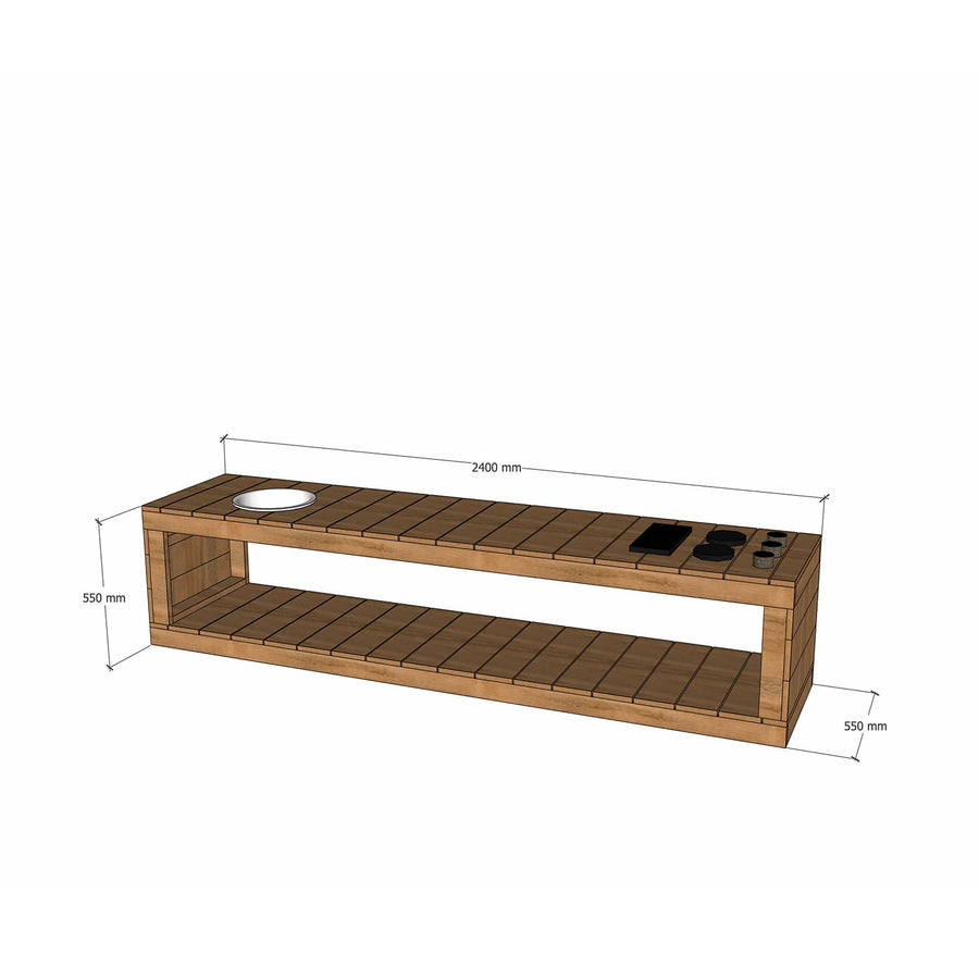 Castle Cubby Mud Kitchen Stovetop Sink Hardwood Outdoor