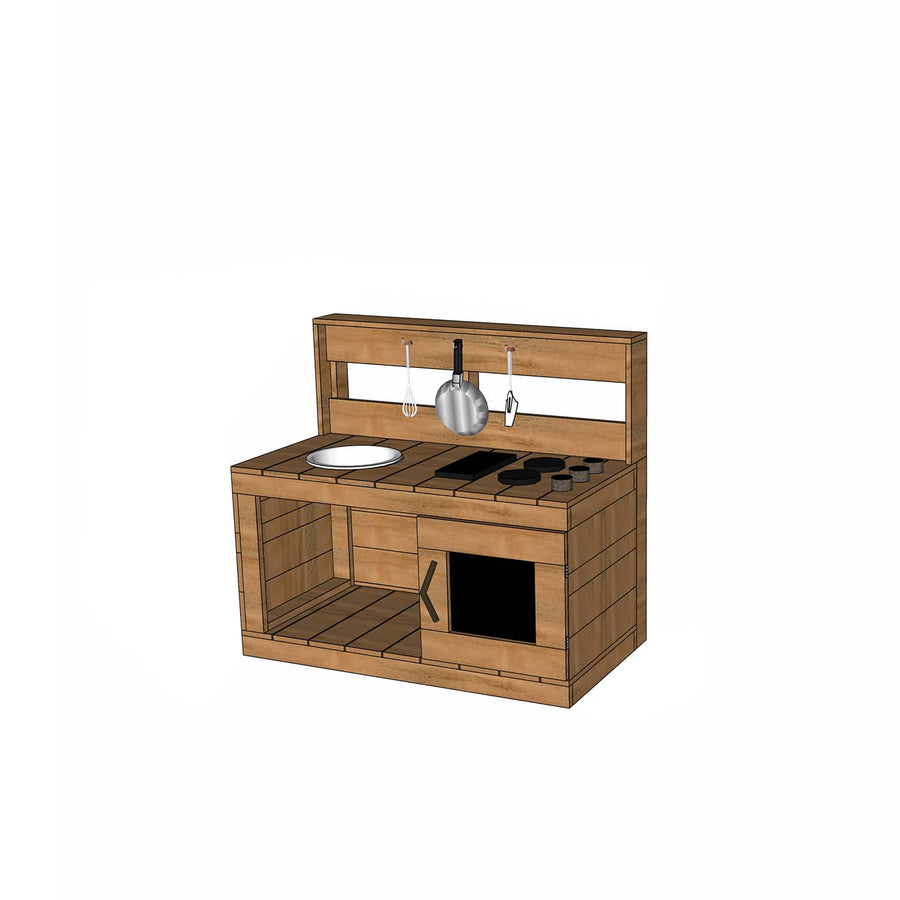 Castle and Cubby Hardwood Timber Mud Kitchen with Stovetop and Sink