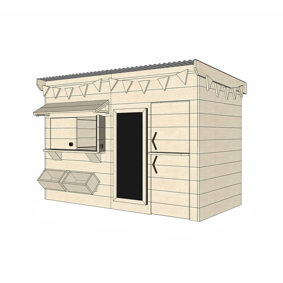 Castle Cubby Raw Timber Flat Roof Cubby House Accessories