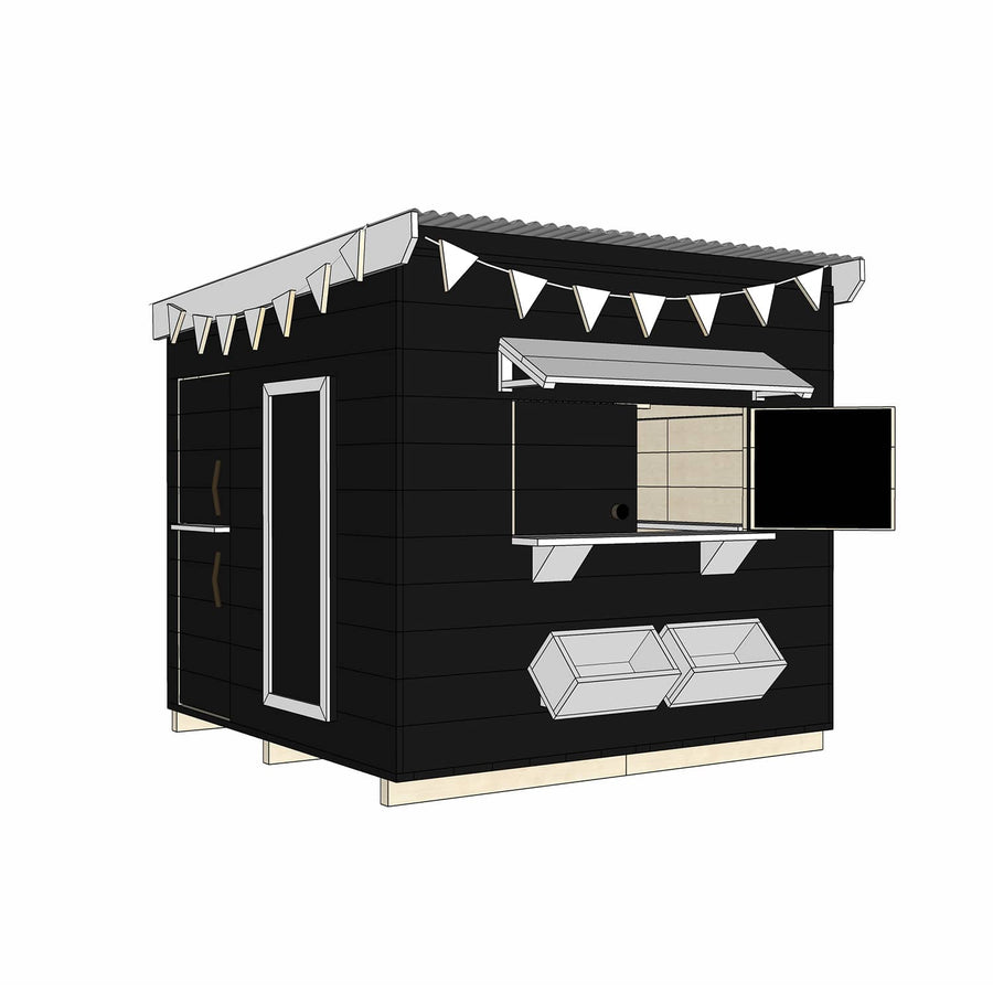 Castle Cubby Painted Timber Flat Roof Cubby House Accessories