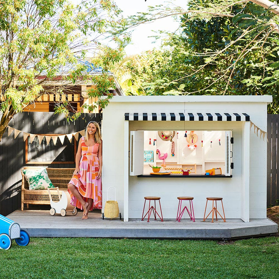 Castle and Cubby Mister Zimi Collab Cubby House White Painted Timber with Barn Door and Stripe Awning