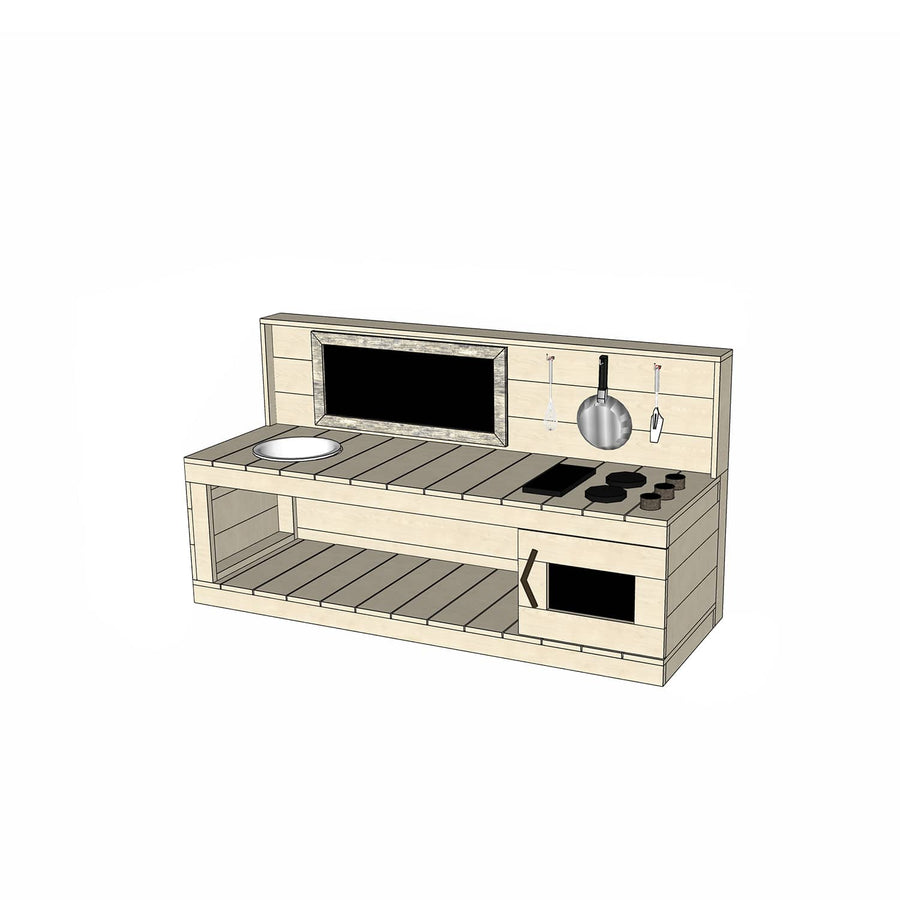 Castle Cubby Pine Play Kitchen Chalkboard Bench Top Sink Stovetop Oven
