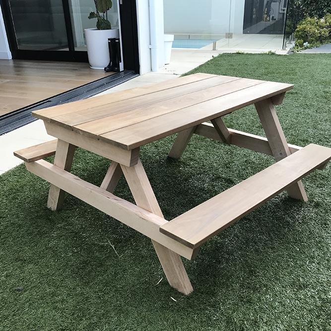 Castle and Cubby Hardwood Outdoor Kids Picnic Table