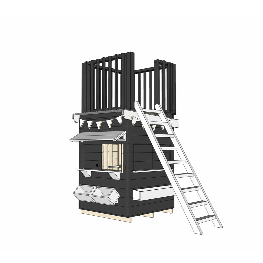 Castle Cubby Painted Timber Cubby House with Fort Top Ladder Accessories