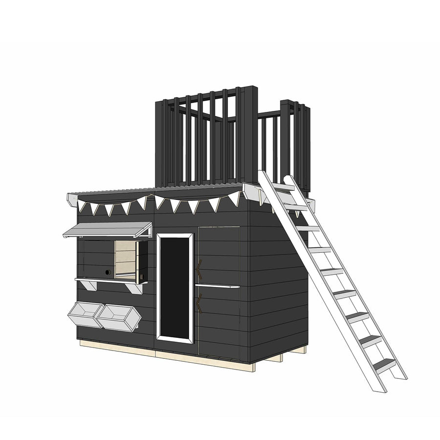 Midi Rectangle Cubby with Single Pine Batten Fort Top and Ladder - with Paint and Accessories Package