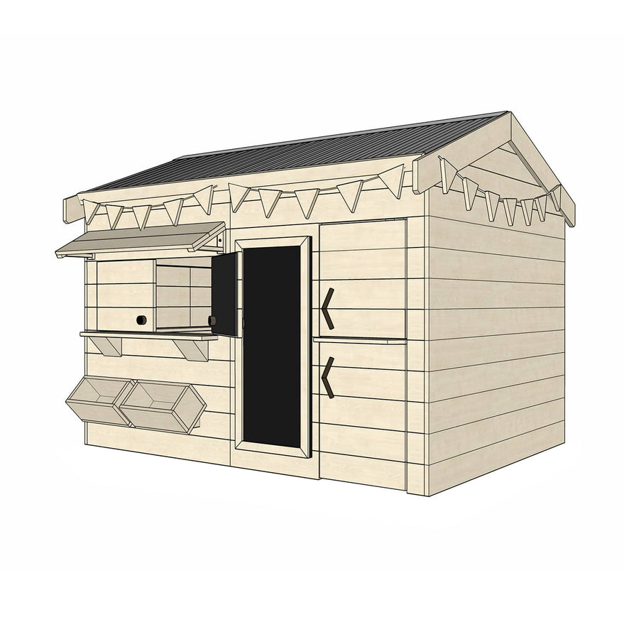 Castle Cubby Raw Timber Pitched Roof Cubby House Accessories