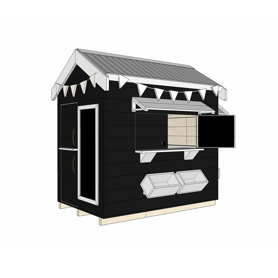 Castle Cubby Painted Timber Pitched Roof Cubby House Accessories
