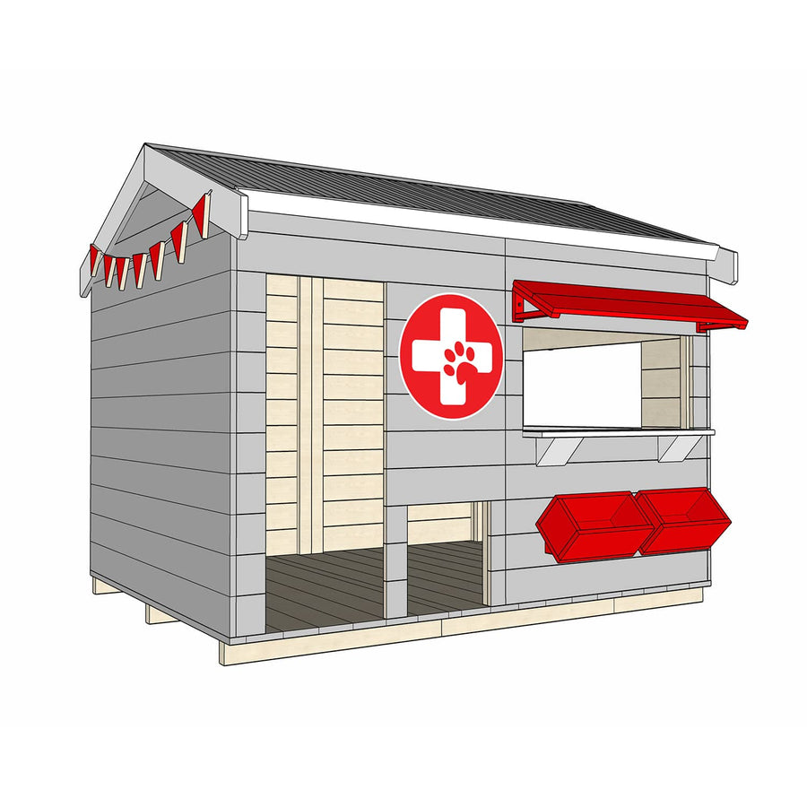 Castle and Cubby Painted Pine Timber Vet Themed Cubby House Commercial Education