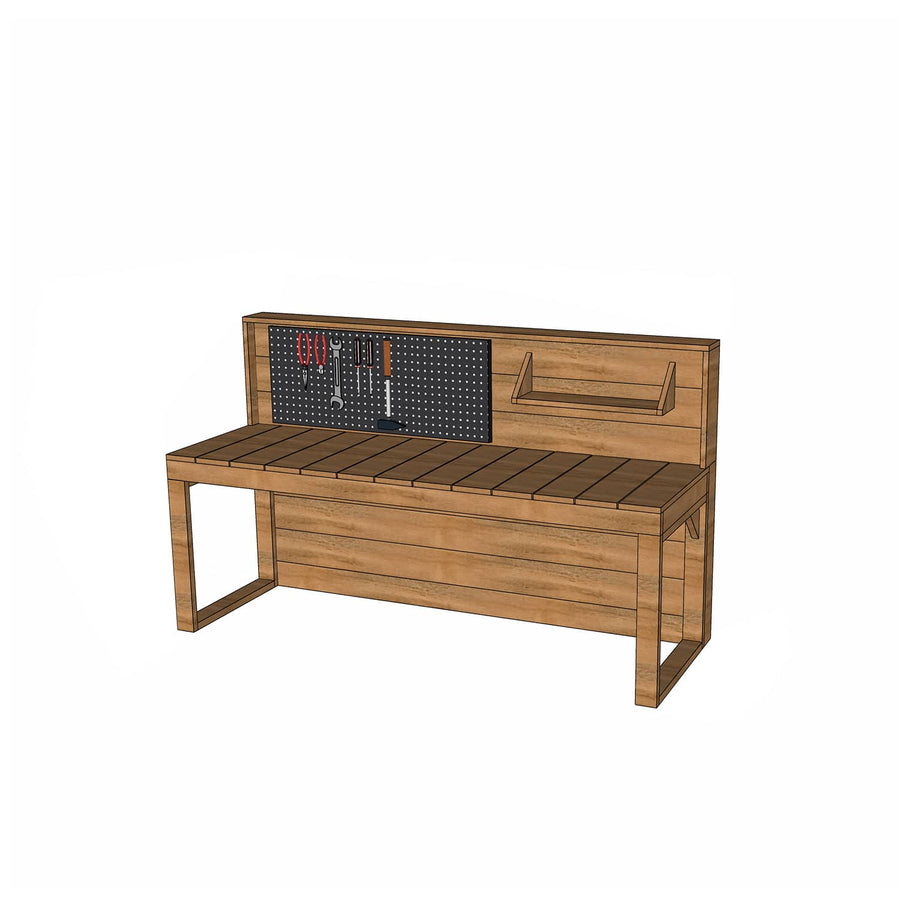 Castle and Cubby Hardwood Timber Workbench with Pegboard Shelf Tools