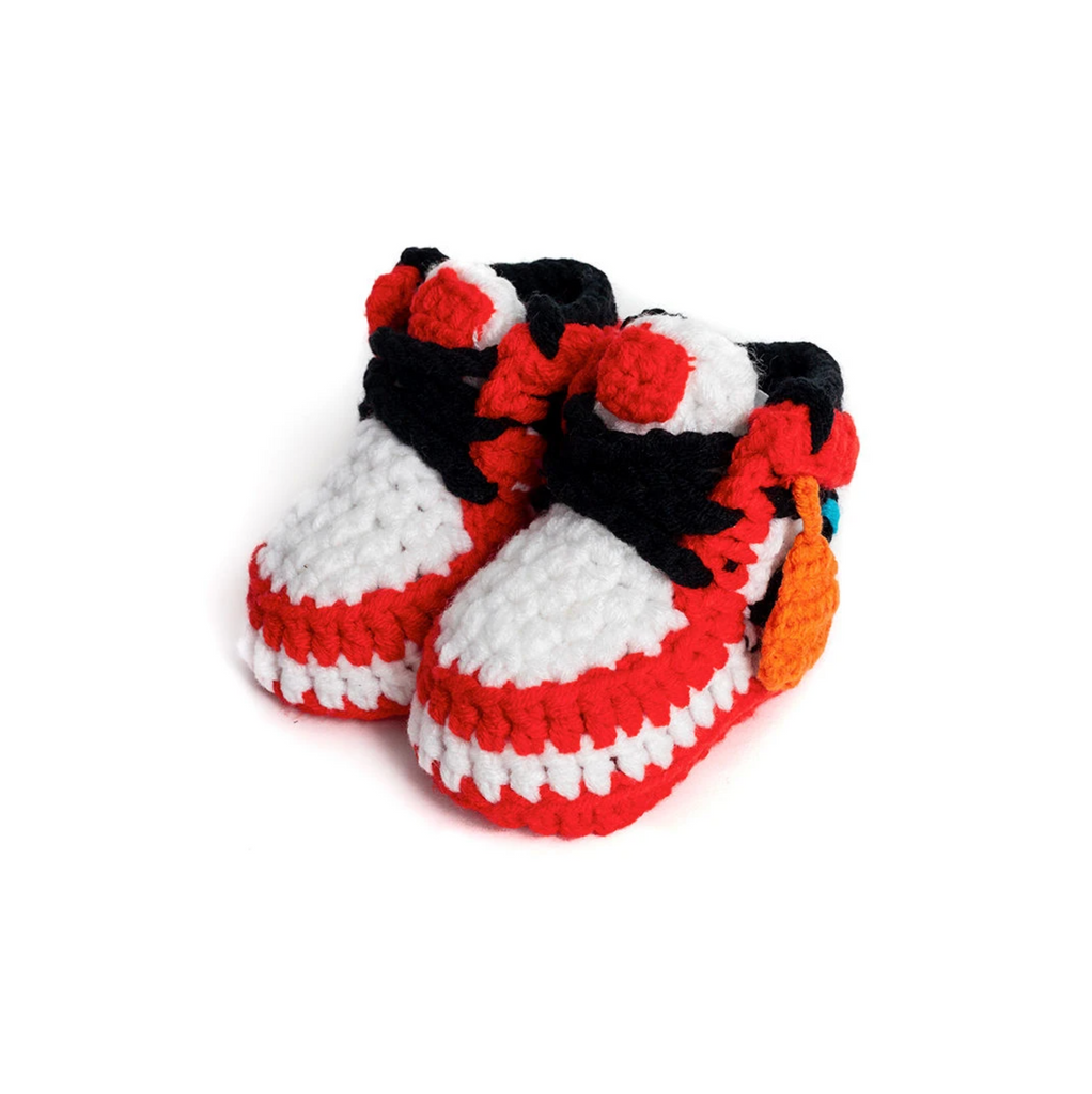 Red Off W Crochet Baby Shoes