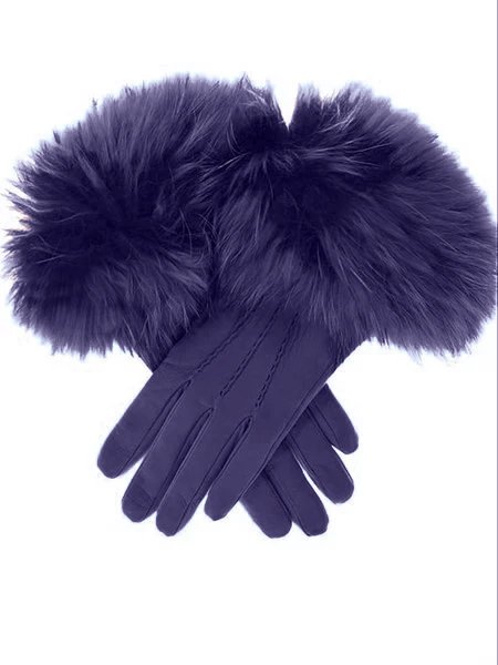 Autumn Winter Basic Gentle Vintage Faux Leather Faux Fur Gloves