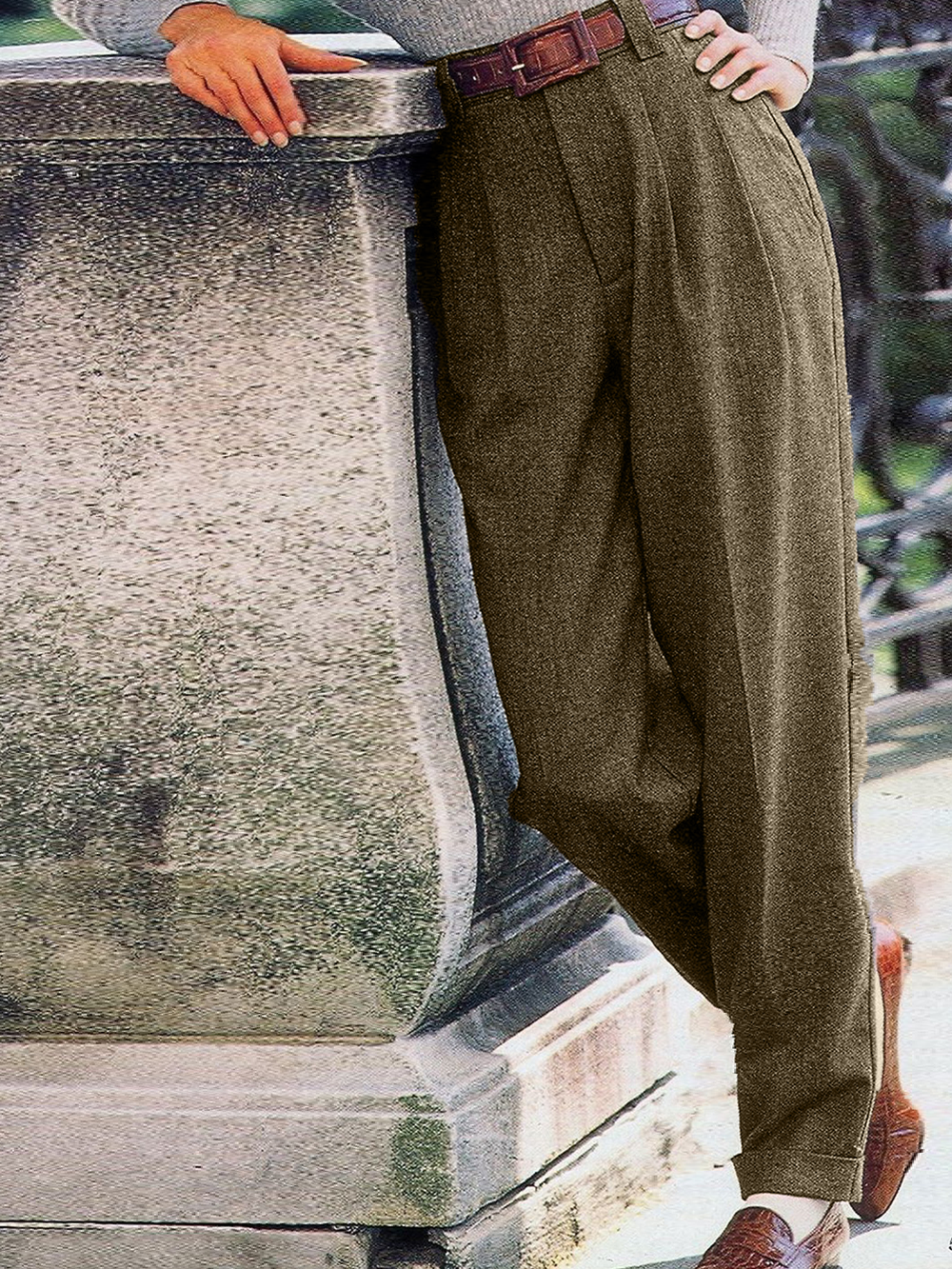 Gray Plain Vintage Tweed Pants