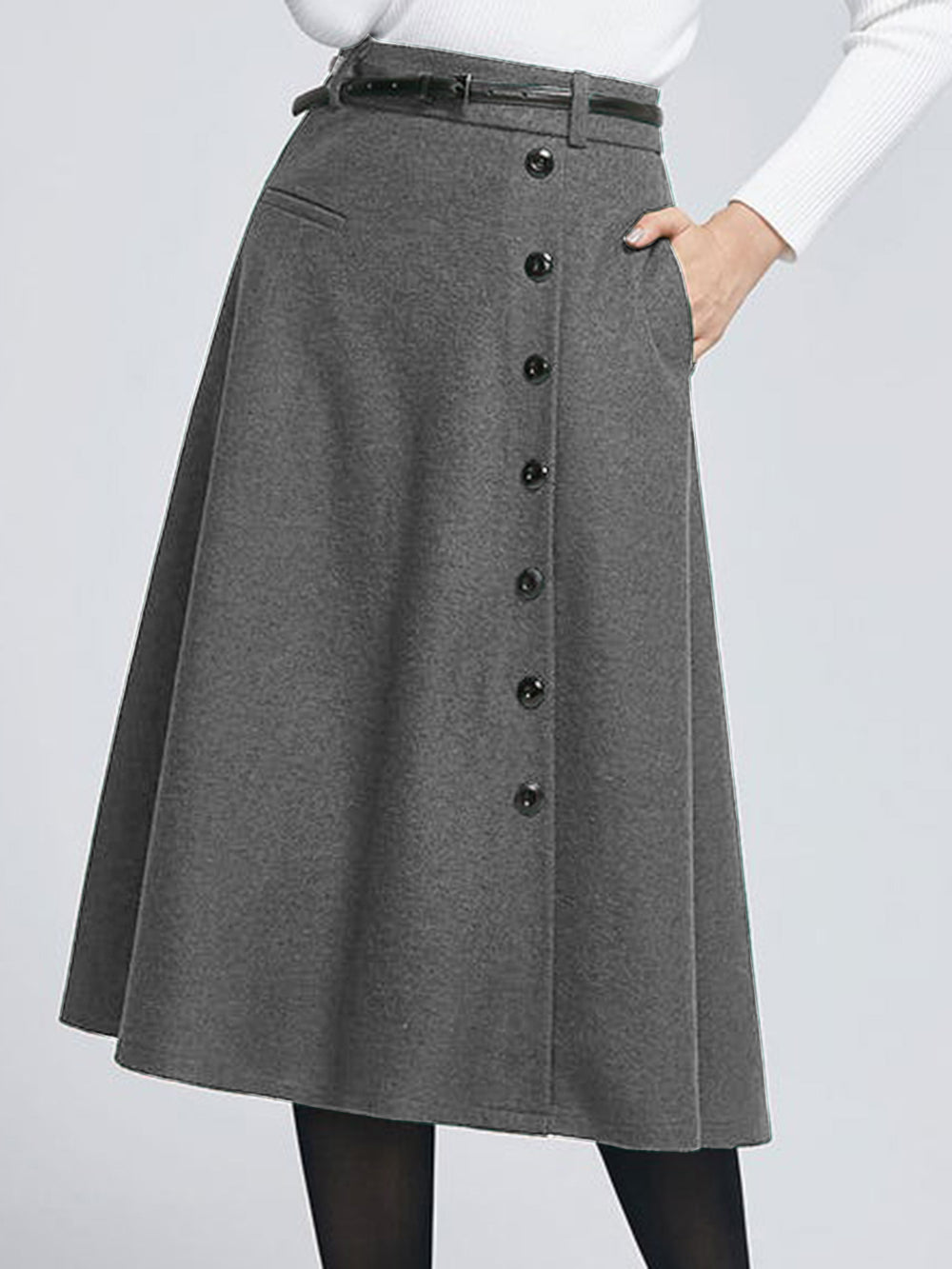 Plus Size Green Elegant Wool Blend Skirts