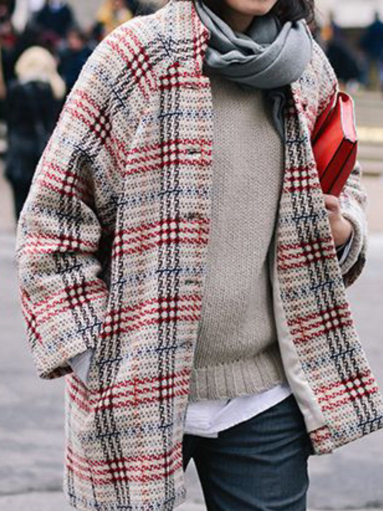 Long Sleeve Casual Checkered/plaid Outerwear