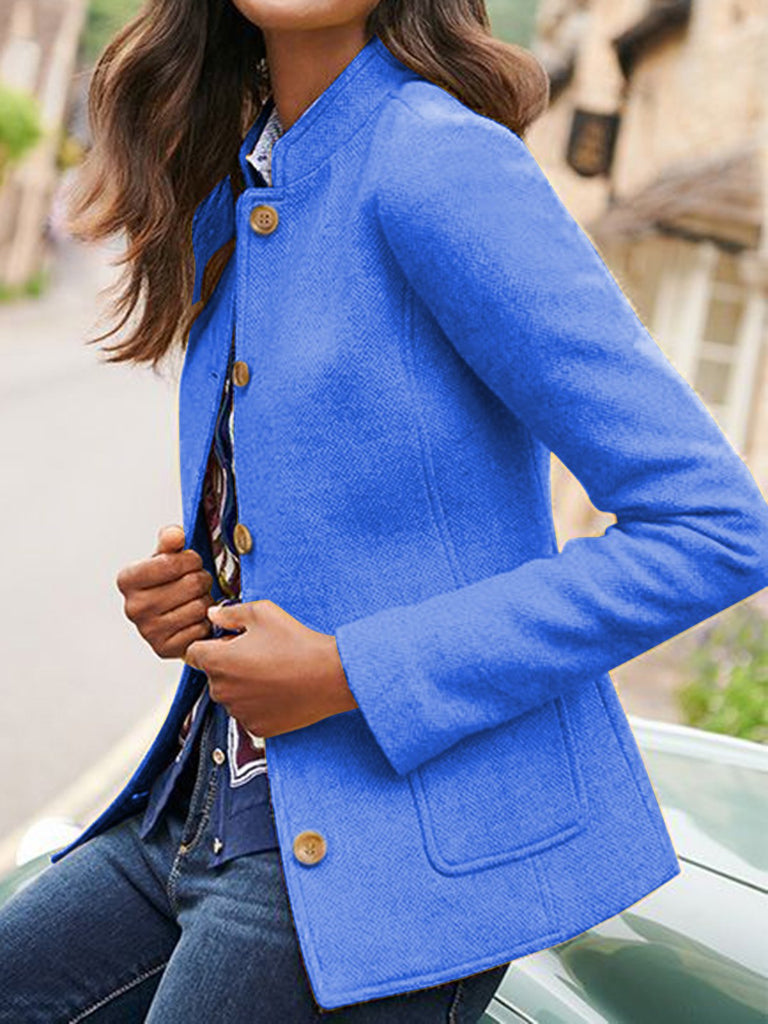 Solid Jacket Vintage Pockets Plus Size Blazer