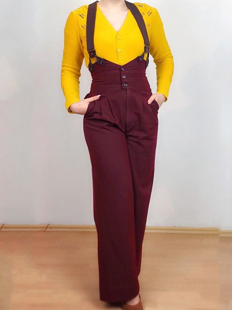 (With Braces) Wine Red Vintage Plain Cotton-Blend Pants