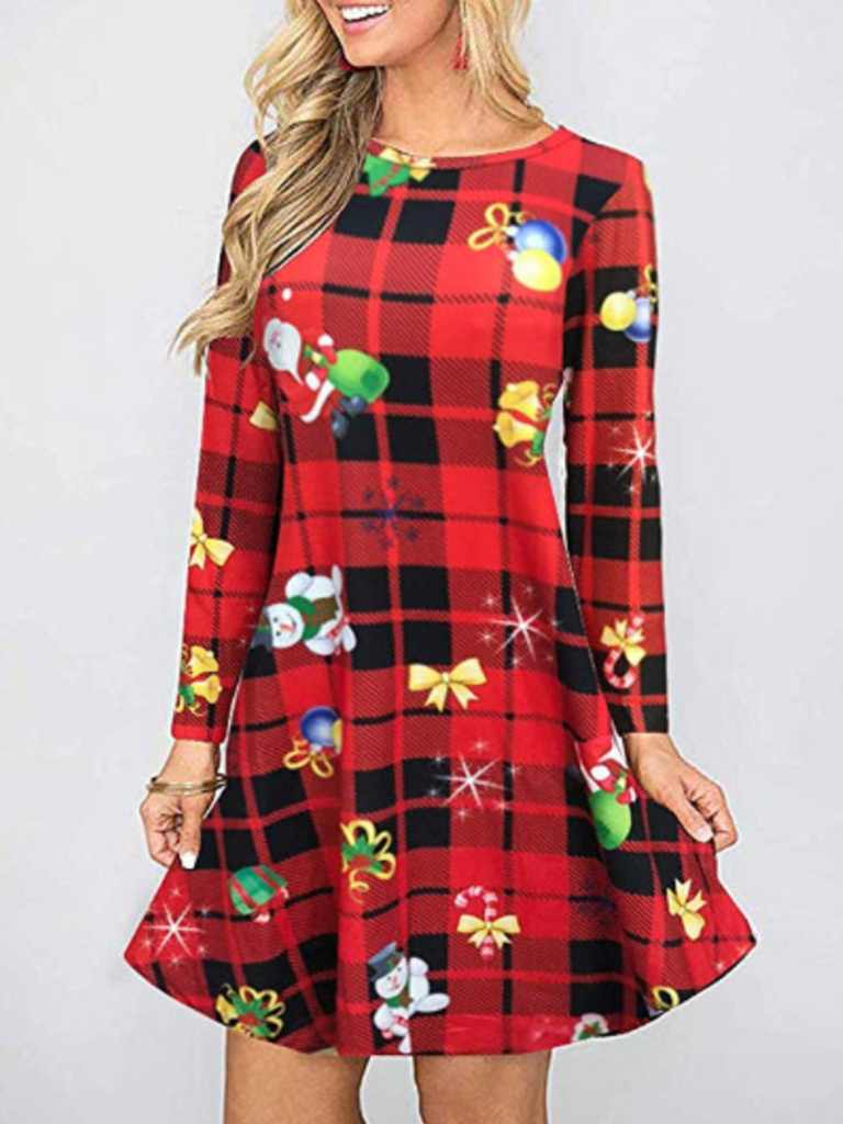 Printed Casual Crew Neck Dresses