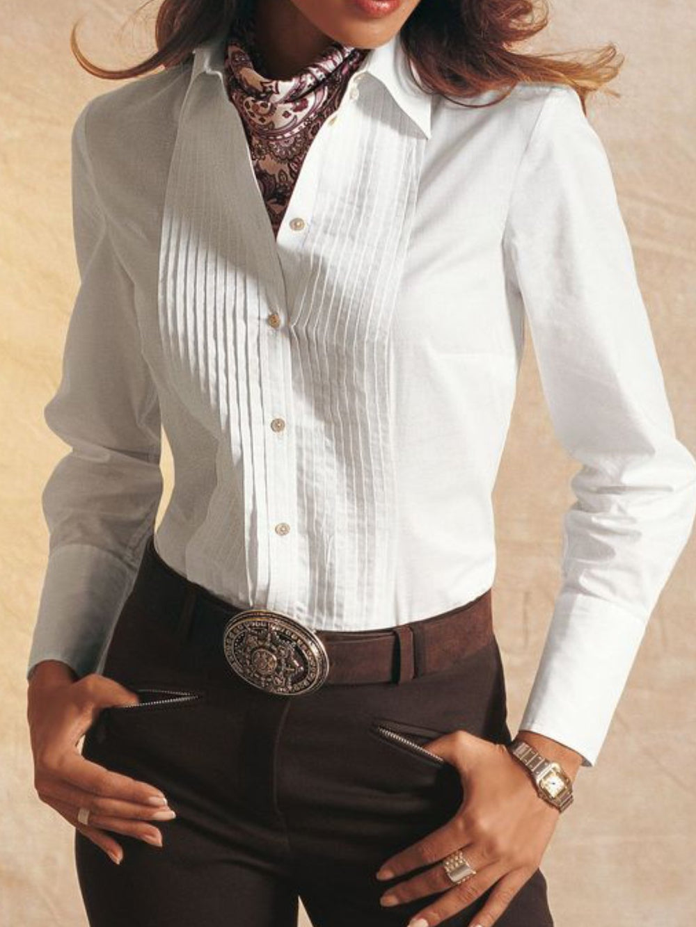 White Long Sleeve Solid Buttoned V Neck Shirts