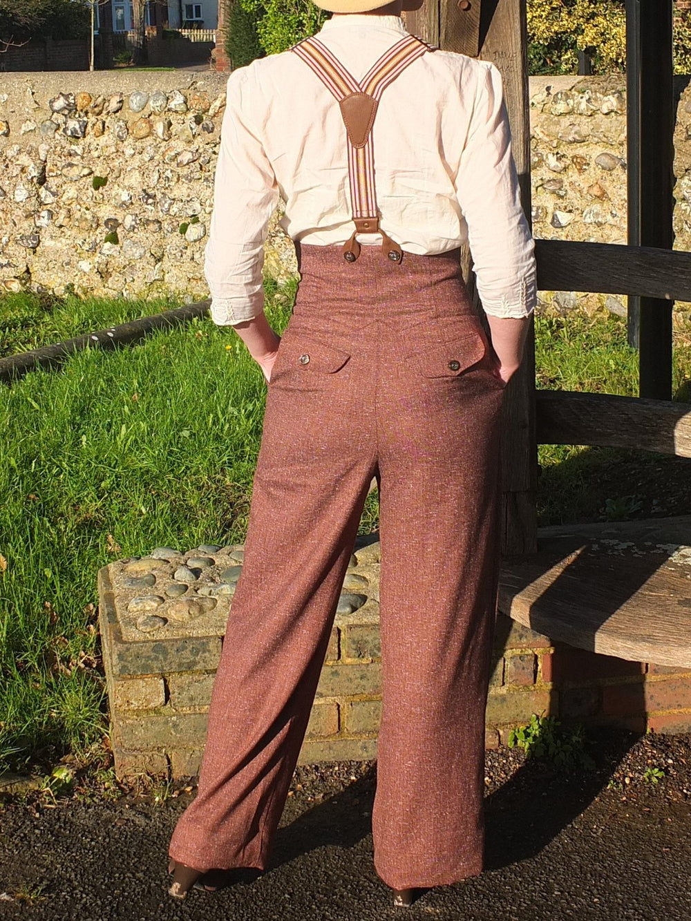 (With Braces)Rust Paneled Plain Vintage Pants