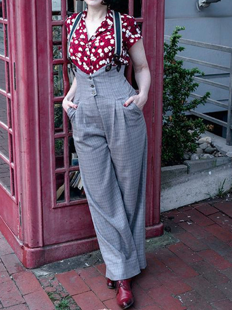 (With Braces) Gray Paneled Pants