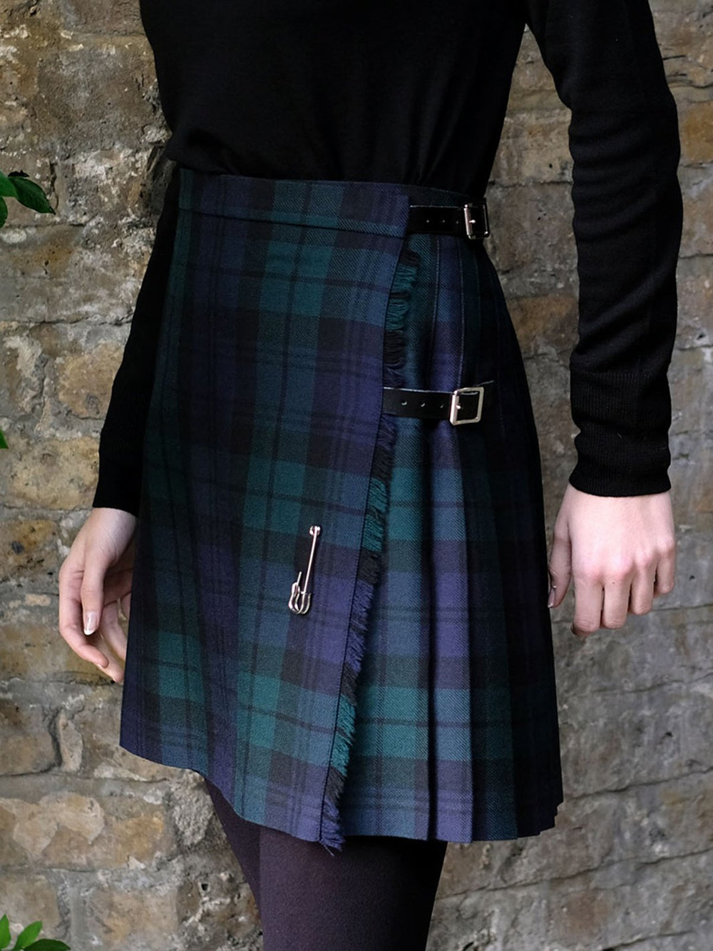 Green Paneled Wool Blend Vintage Plaid Skirts