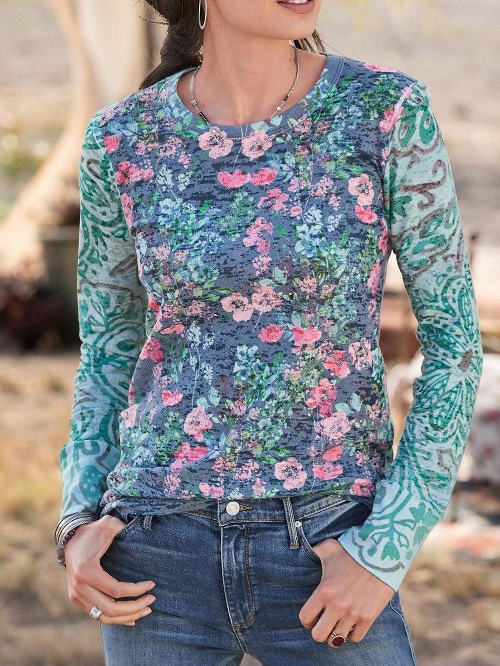 Long Sleeve Cotton Floral Printed Shirts & Tops