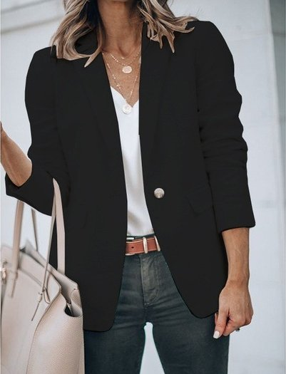 Women Lapel Plain Work Outerwear