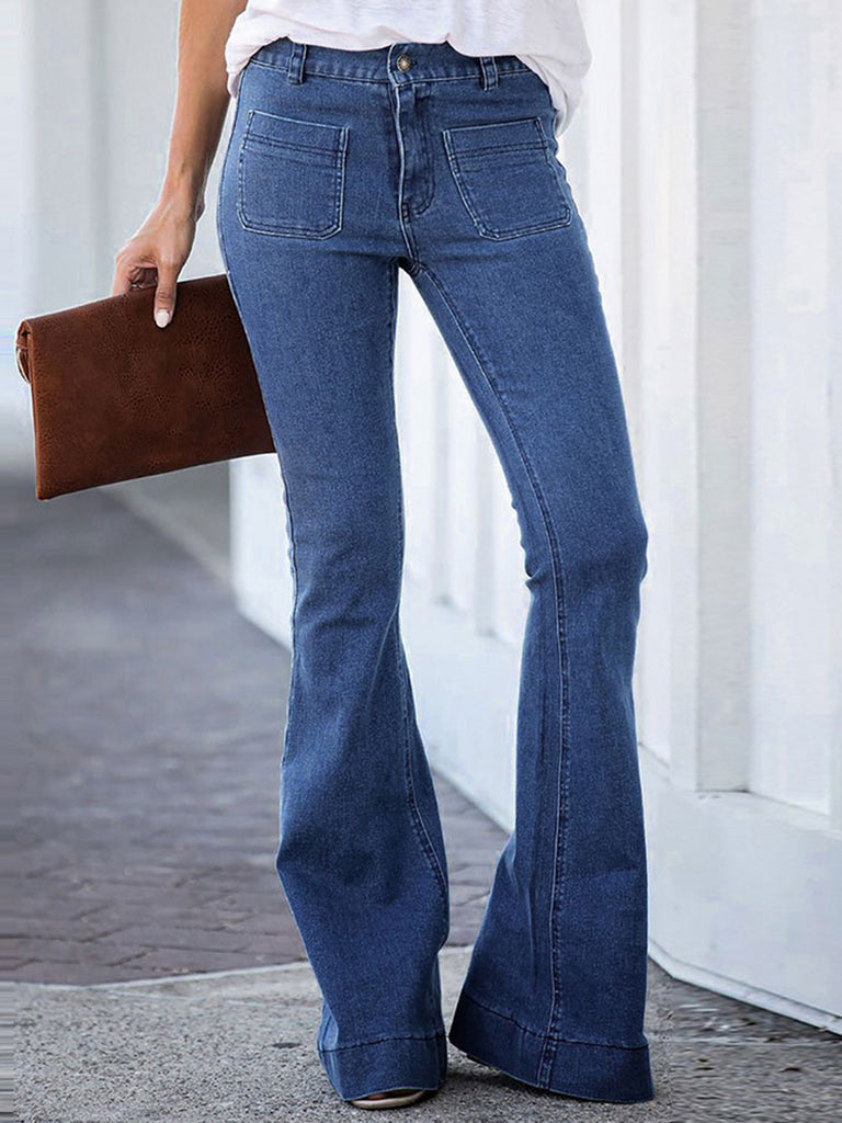Denim Pockets Sheath Casual Flared Pants