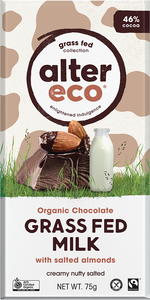 Alter Eco Organic Chocolate - Grass Fed Milk With Salted Almonds