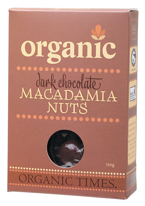 Organic Times Dark Chocolate Covered Macadamia Nuts