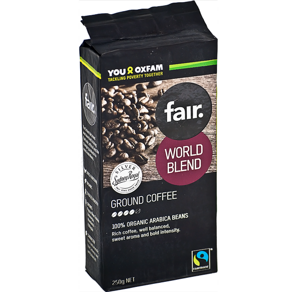 fair. World Blend Organic Ground Coffee