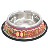Stainless Steel Pet Bowl - Yam and Bush Tomato Dreaming Design by Paddy Japaljarri Stewart