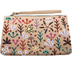 Leather Clutch Bag W/Wrist Strap - Our Country Design