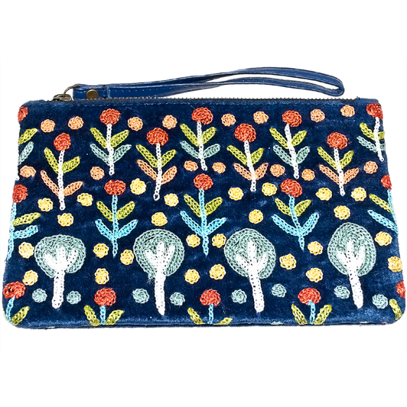 Velvet Clutch Bag W/Wrist Strap - Bush Medicine Plants Design