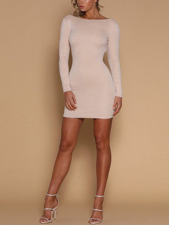 Backless Glitter Long Sleeve Cocktail Mini Dress - Loren Ashley