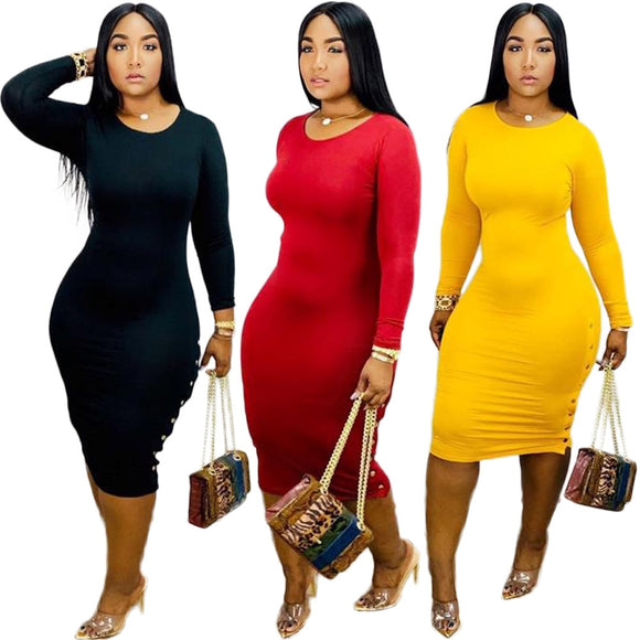 Long Sleeve Bodycon Side Button Midi Dress - Loren Ashley