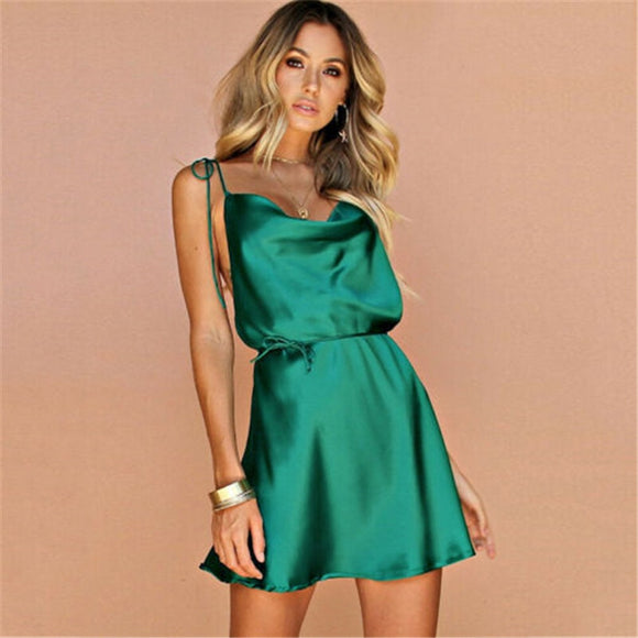 Backless Satin Silk Mini Dress - Loren Ashley