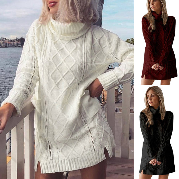 Knitted Turtleneck Pullover Mini Dress - Loren Ashley