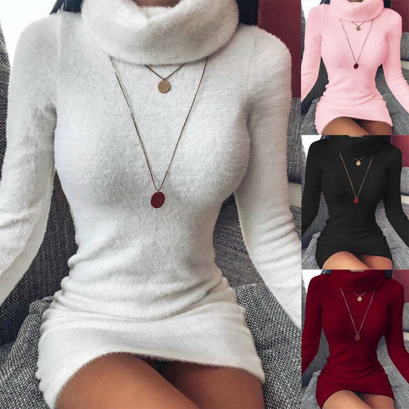 Long Sleeve Turtleneck Sweater Minni Dress - Loren Ashley