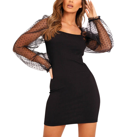 Mesh Lantern Sleeve Bodycon Mini Dress - Loren Ashley