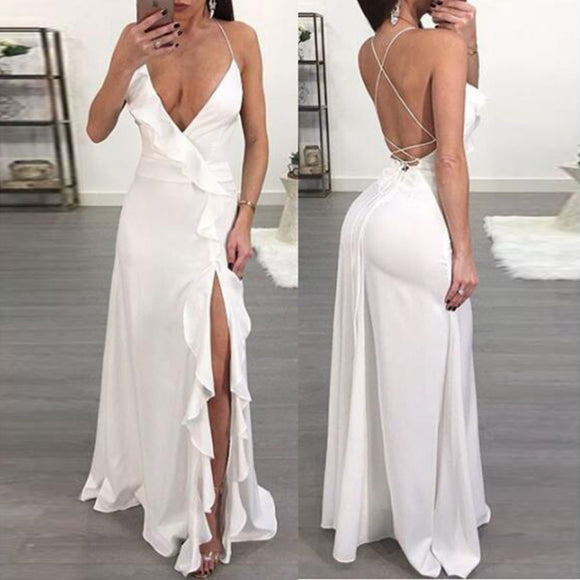 Ruffled Backless Sleeveless Slit Side Maxi Dress - Loren Ashley