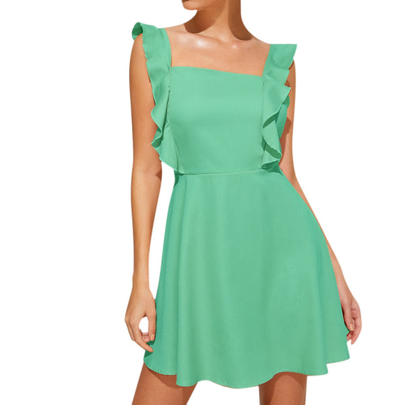 Square Neck Sleeveless Ruffled Mini Dress - Loren Ashley