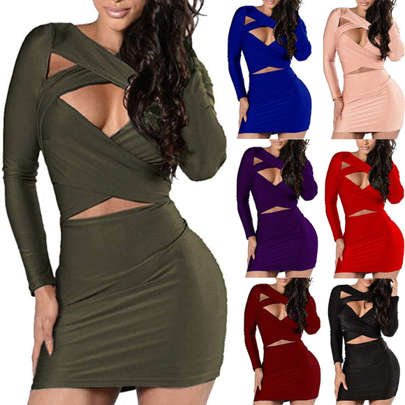 Long Sleeve Hollowing Out Mini Dress - Loren Ashley